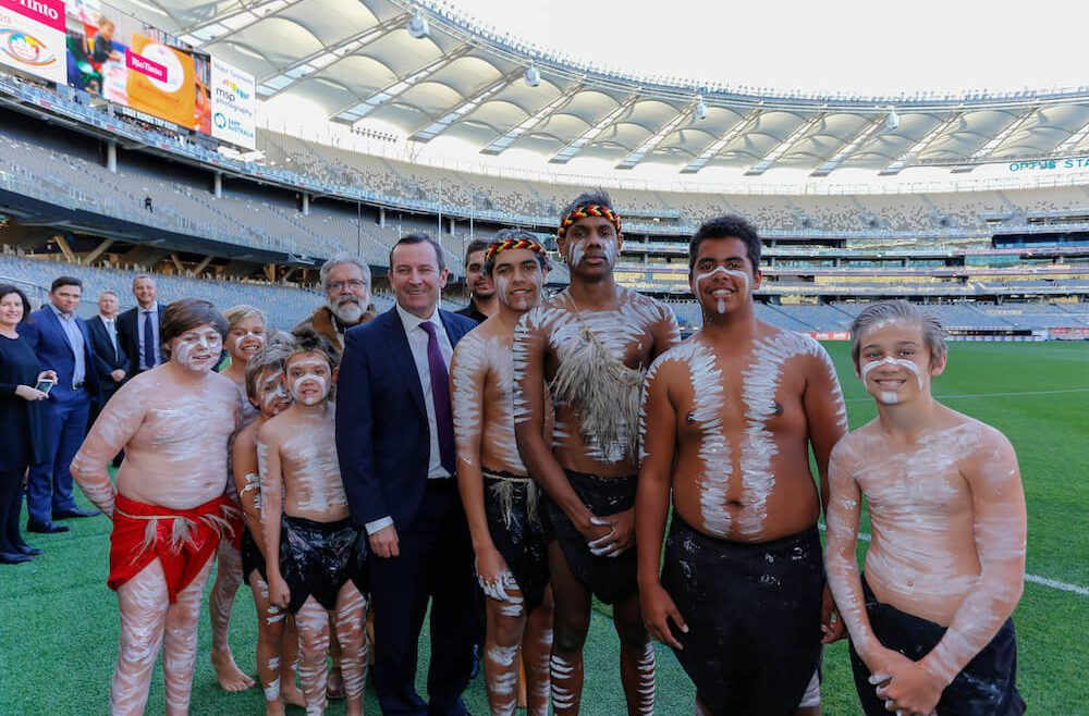 mark mcgowan at the new perth stadium with indigenous performers
