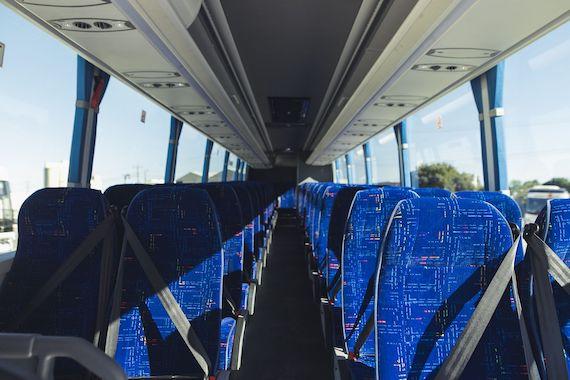 interior of a coach bus