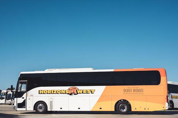 Coach bus long shot
