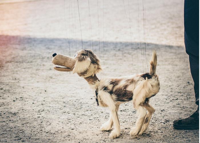 A dog puppet