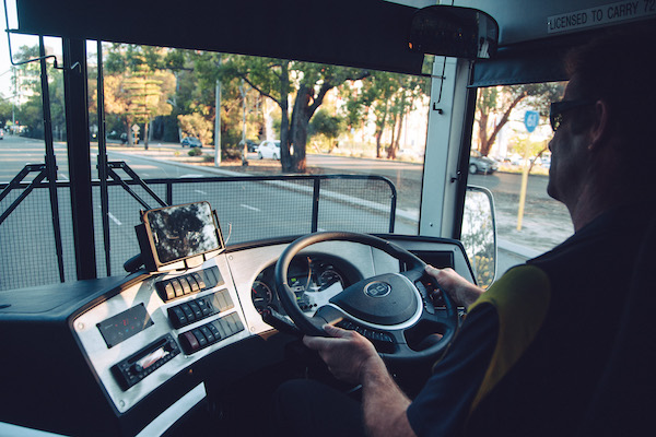 Driver on route in a Horizons West bus