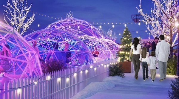 Igloos at the winter village festival at the Ice Cream Factory
